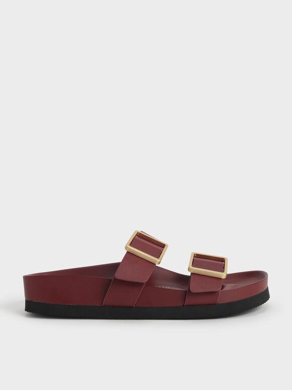 Buckle Strap Slide Sandals, Red, hi-res