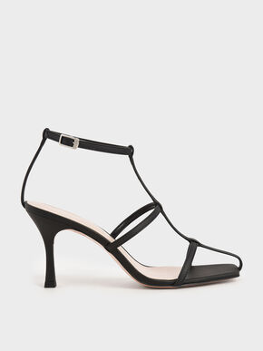 Caged Strappy Heeled Sandals, Black, hi-res
