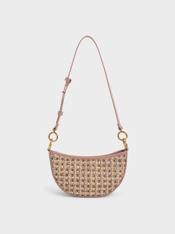 Tweed Crescent Crossbody Bag, Blush, hi-res