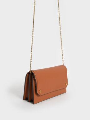 Front Flap Long Wallet, Cognac, hi-res