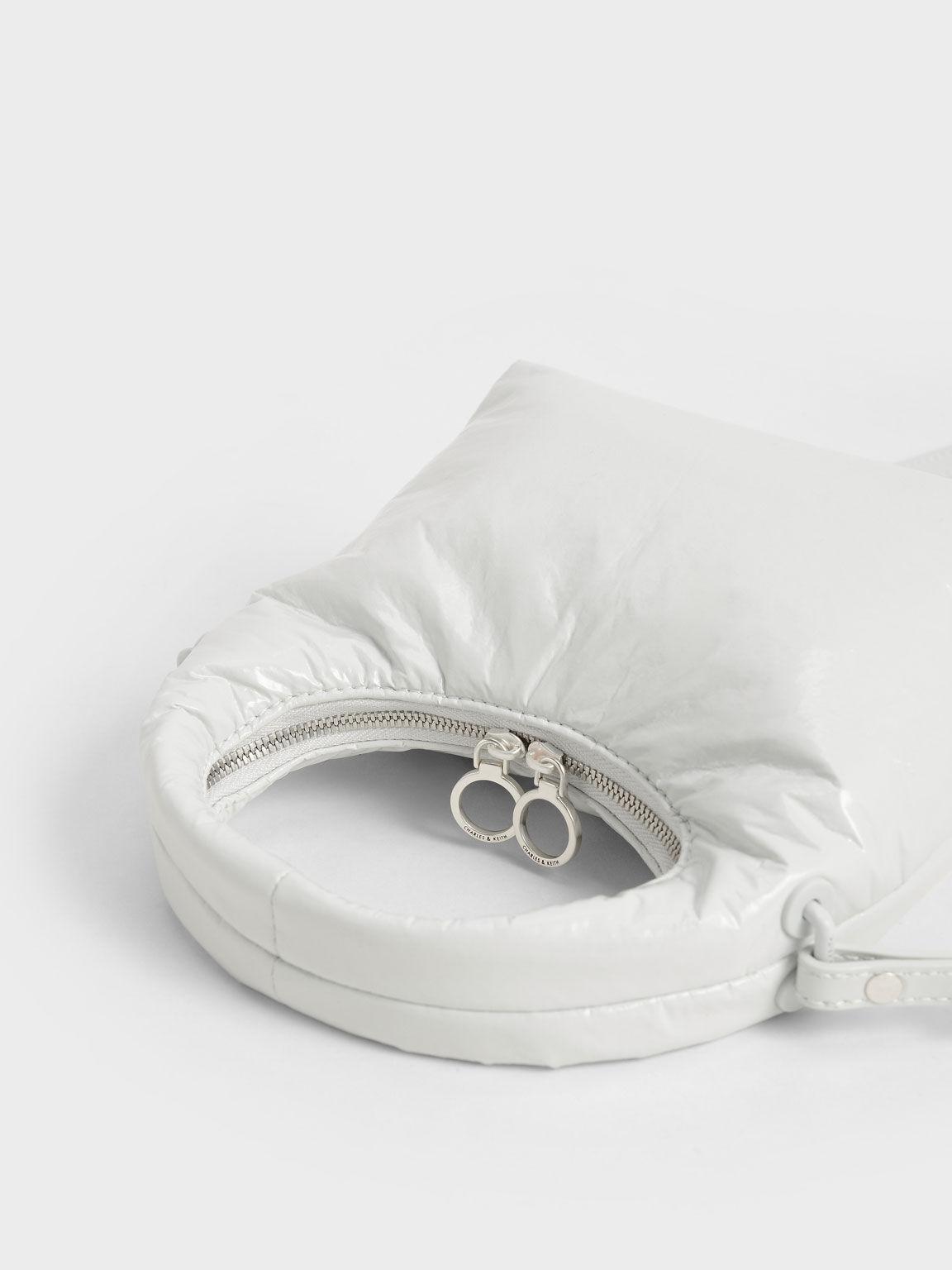 Wrinkled-Effect Puffy Bag, White, hi-res