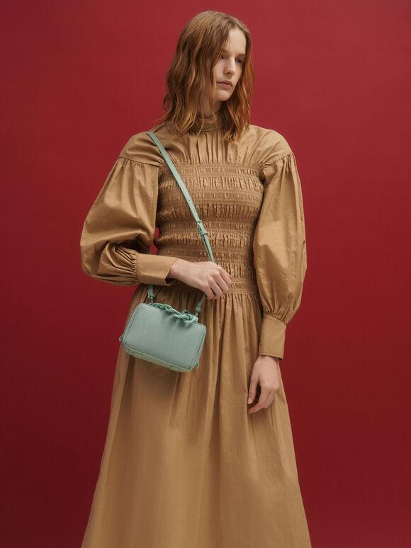 Linen Chain Link Boxy Bag, Sage Green, hi-res