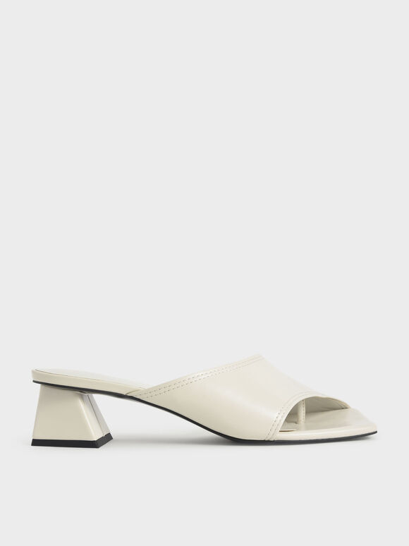 Molly Chiang Collection: Trapeze Heel Asymmetric Mules, Chalk, hi-res