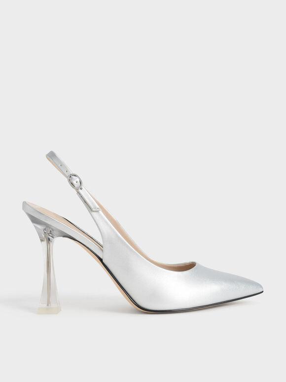 Clear Sculptural Heel Slingback Pumps, Silver, hi-res