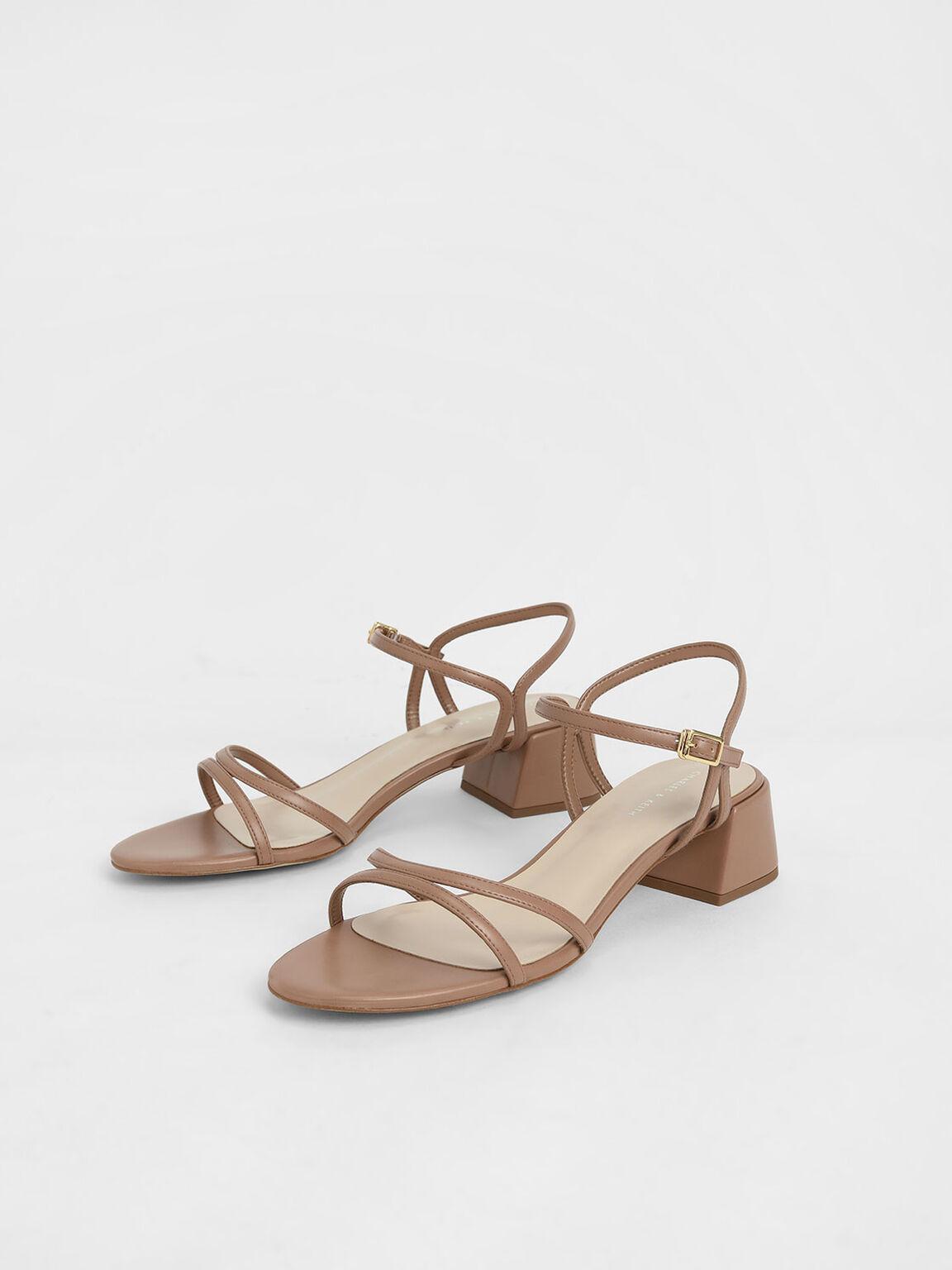 Strappy Block Heel Sandals, Tan, hi-res