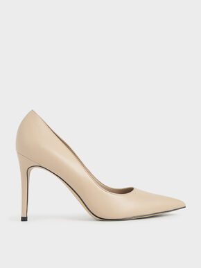Pointed Toe Stiletto Pumps, Nude, hi-res