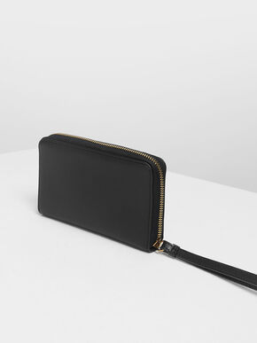Zip Detail Wristlet, Black, hi-res