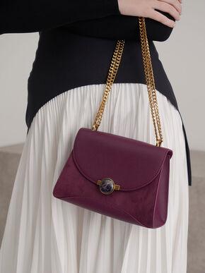 Textured Embellished Push-Lock Bag, Purple, hi-res