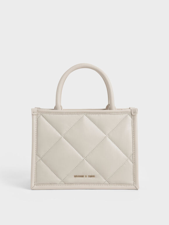 Quilted Double Handle Tote Bag, Ivory, hi-res