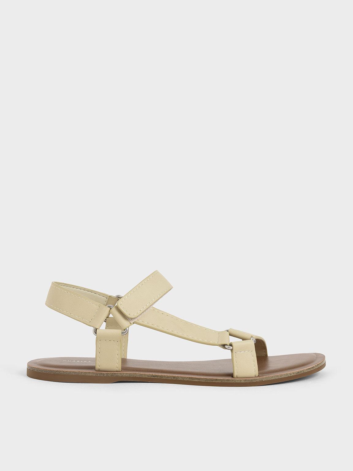 Asymmetric Strap Sandals, Sand, hi-res