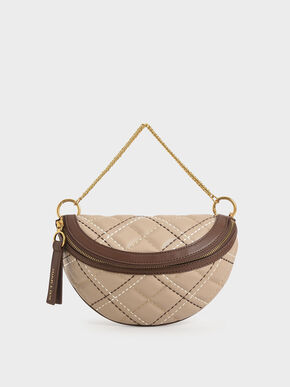 Half-Moon Crossbody Bag, Sand, hi-res