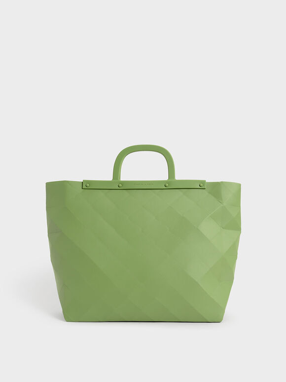 Double Handle Large Geometric Tote, Green, hi-res