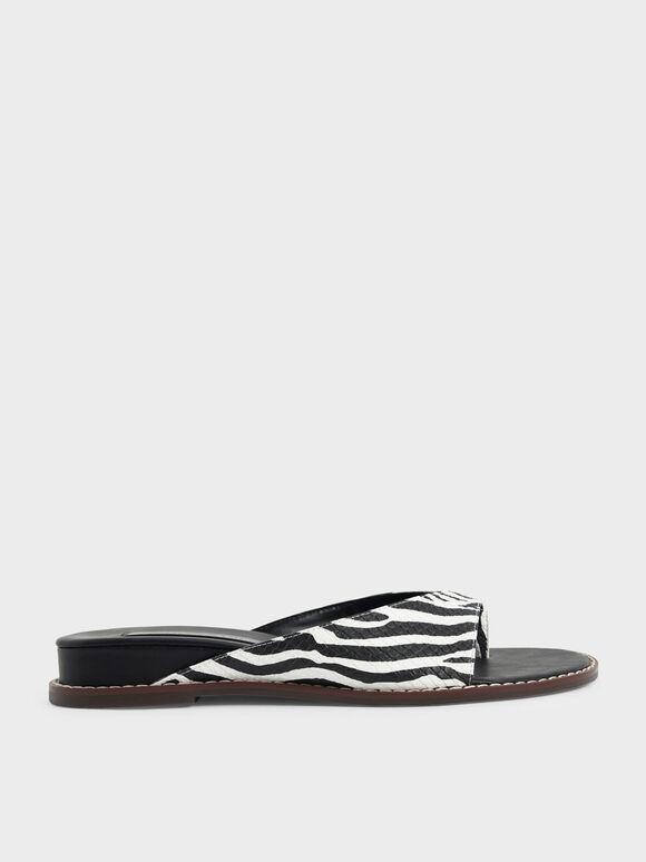 Zebra Print Stitch Trim Thong Sandals, Animal Print Natural, hi-res