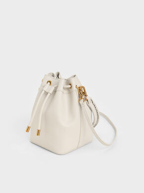 Drawstring Bucket Bag, Ivory, hi-res