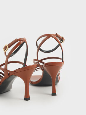 Strappy Heeled Sandals, Brown, hi-res