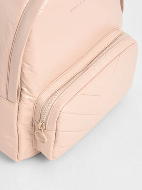 Quilted Double Zip Backpack, Nude, hi-res