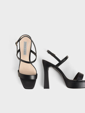 Platform Back Strap Sandals, Black, hi-res