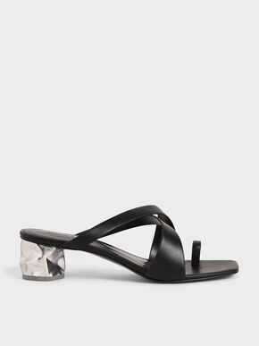 Toe Loop Criss-Cross Sandals, Black, hi-res