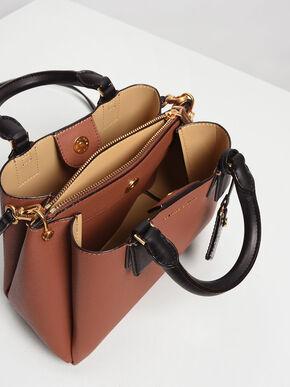 Structured Top Handle Bag, Cognac, hi-res