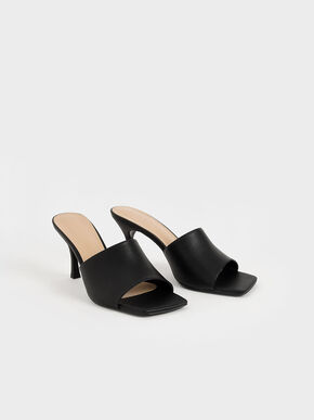 Square Toe Mules, Black, hi-res
