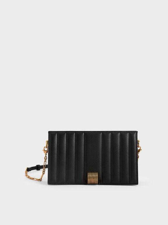 Panelled Metallic Push-Lock Wallet, Black, hi-res