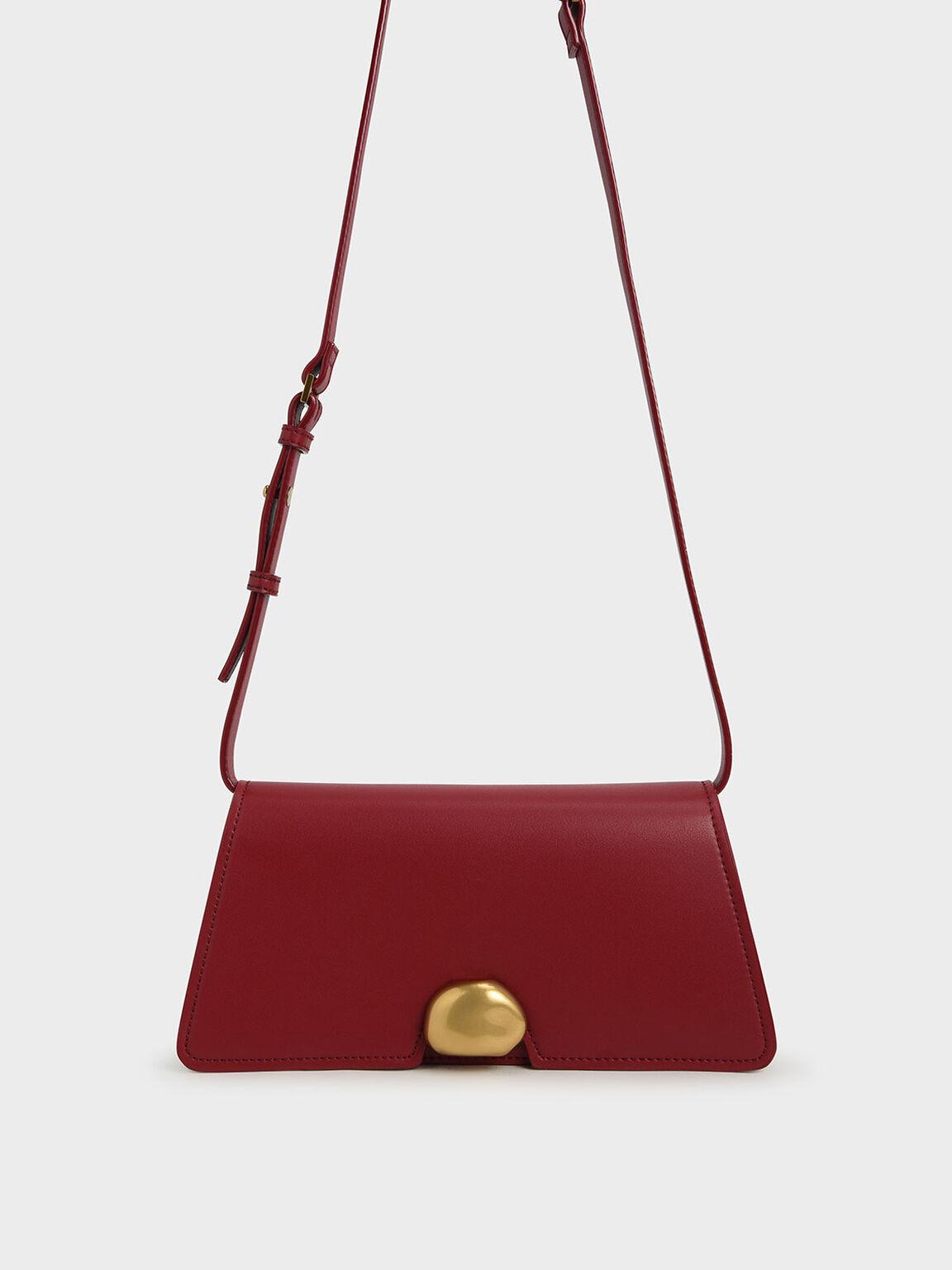 Metallic Accent Trapeze Shoulder Bag, Red, hi-res