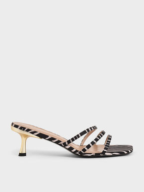 Zebra Print Strappy Mules, Animal Print Natural, hi-res
