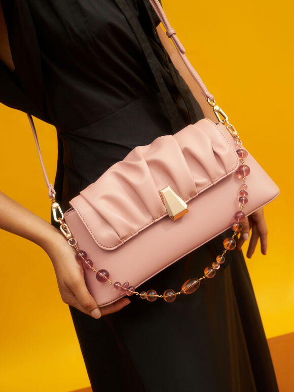 Beaded Strap Ruched Trapeze Bag, Blush, hi-res
