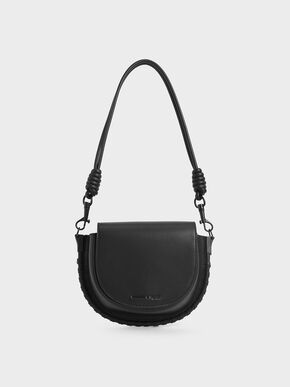 Stitch Trim Saddle Bag, Black, hi-res