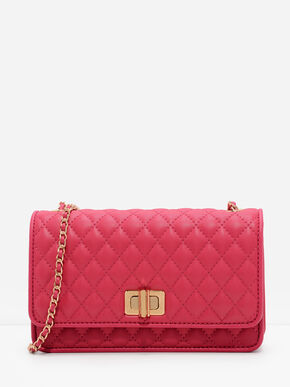 Quilted Chain Strap Bag, Berry, hi-res