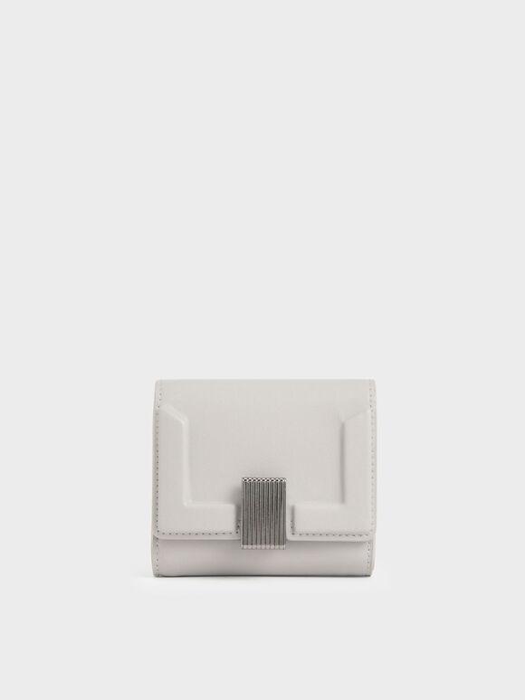 Metallic Turn-Lock Short Wallet, Light Grey, hi-res