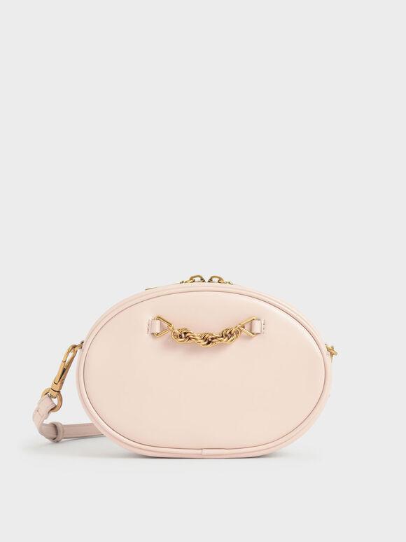 Chain-Embellished Oval Crossbody Bag, Light Pink, hi-res