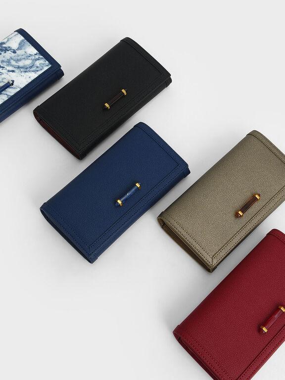 Stone-Embellished Front Flap Long Wallet, Red, hi-res