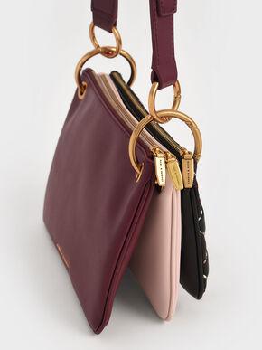 Quilted Metallic Handle Crossbody Bag, Black, hi-res