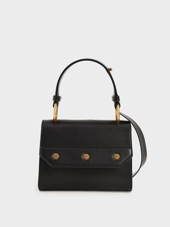 Studded Top Handle Bag, Black, hi-res