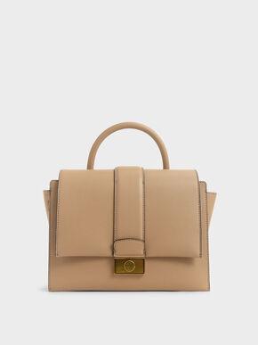 Metallic Push-Lock Handbag, Beige, hi-res