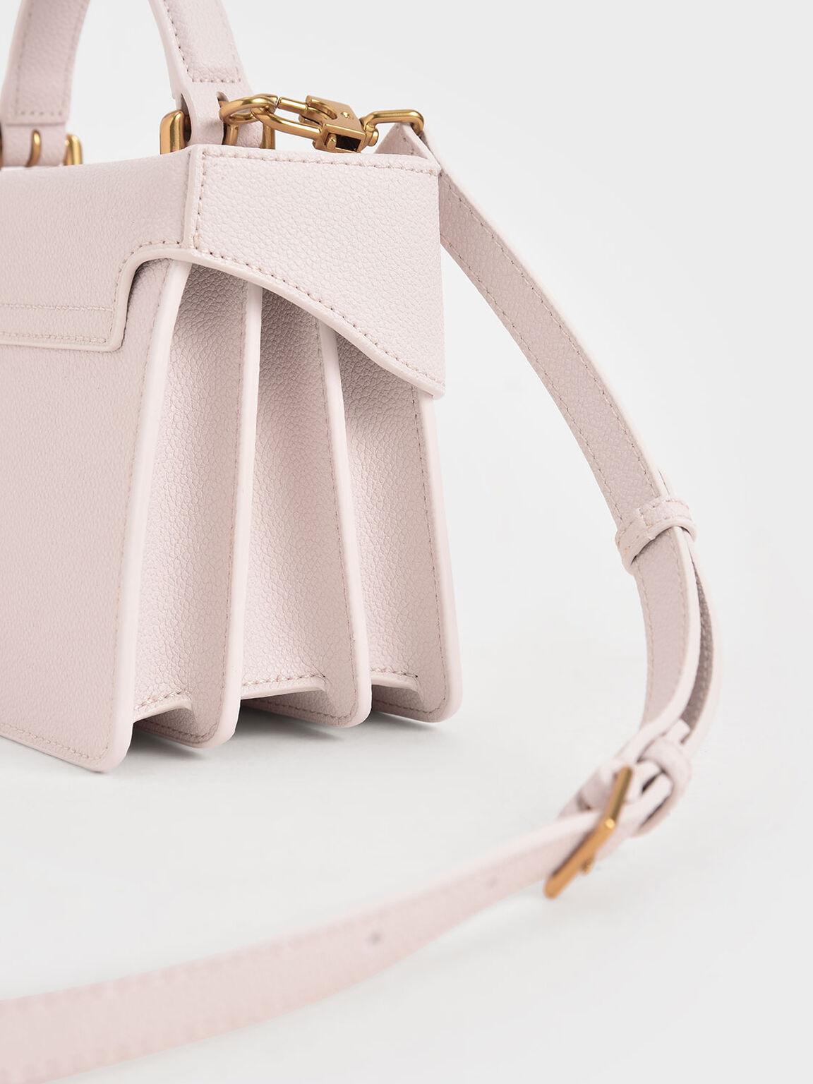 Metallic Push-Lock Boxy Bag, Pink, hi-res
