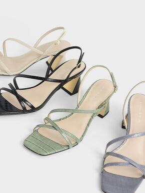 Croc-Effect Strappy Heeled Sandals, Animal Print Blue, hi-res