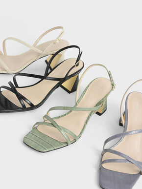 Croc-Effect Strappy Heeled Sandals, Animal Print White, hi-res