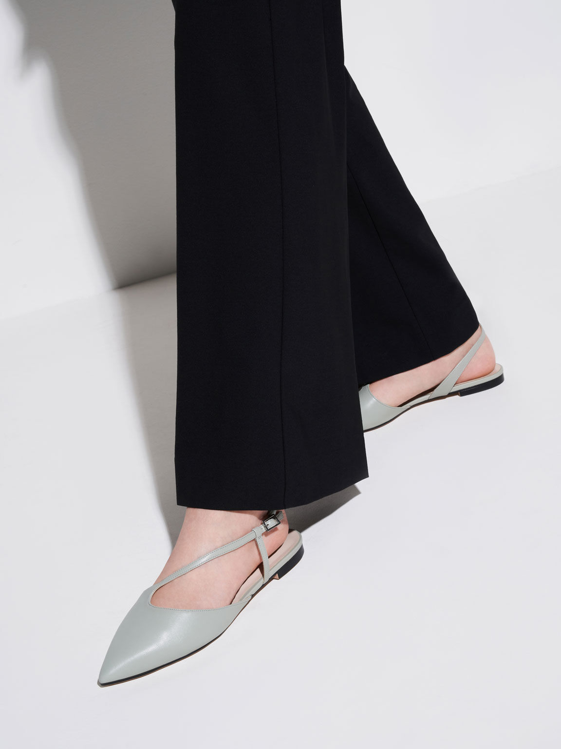 Pointed Toe Asymmetric Strap Ballerina Flats, Mint Green, hi-res
