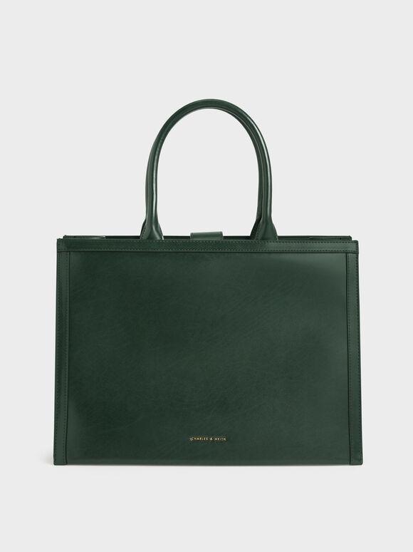 Large Double Handle Tote Bag, Dark Green, hi-res