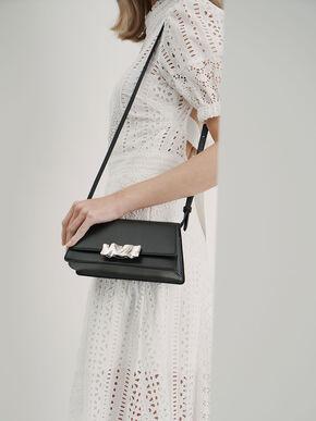 Metal Accent Shoulder Bag, Black, hi-res