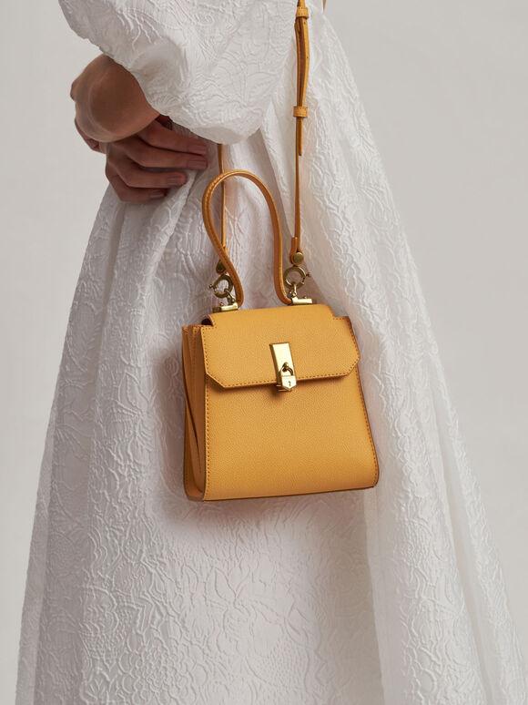 Top Handle Chain Link Trapeze Bag, Mustard, hi-res