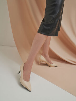 Glossy Toe Cap Pumps, Chalk, hi-res