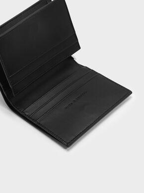 Stud Detail Small Wallet, Black, hi-res