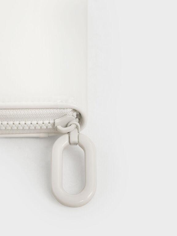 Patent Zip-Around Long Wallet, White, hi-res