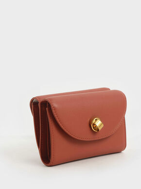 Mini Front Flap Wallet, Clay, hi-res