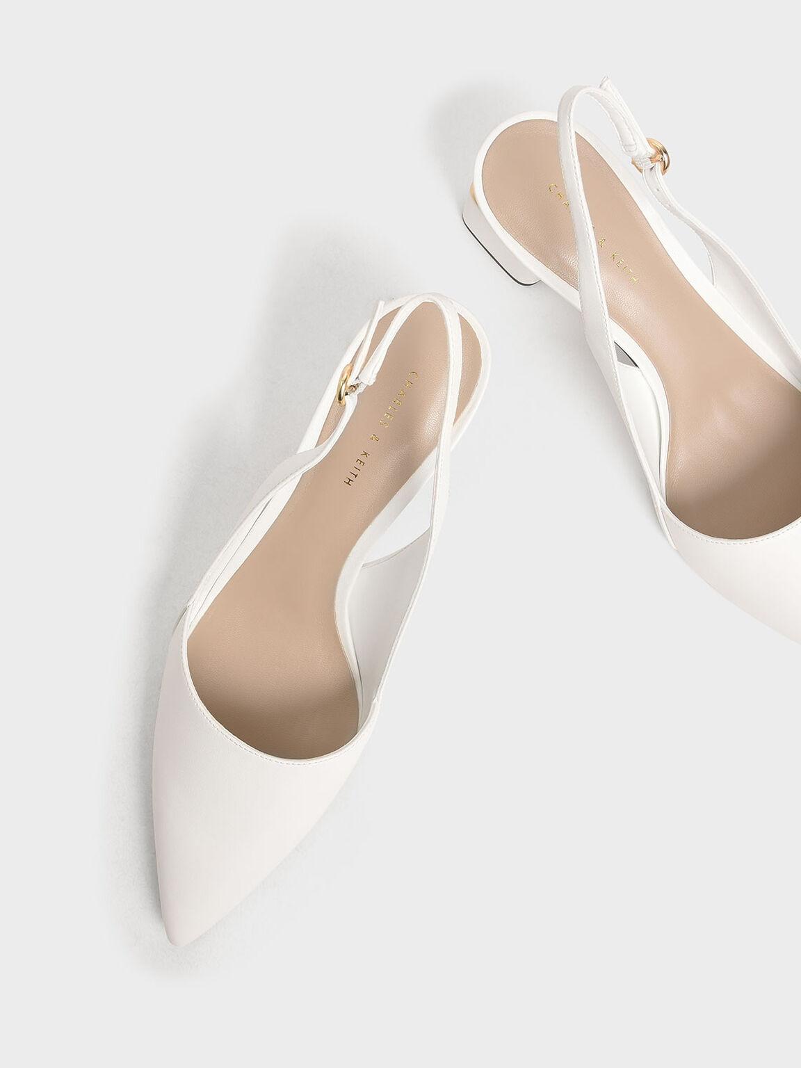 Pointed Slingback Heels, White, hi-res
