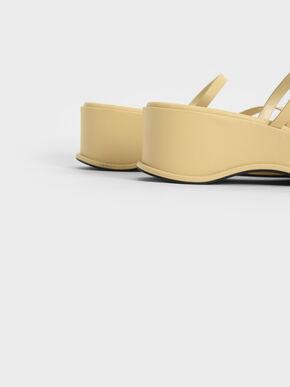 Toe Loop Flatform Sandals, Yellow, hi-res