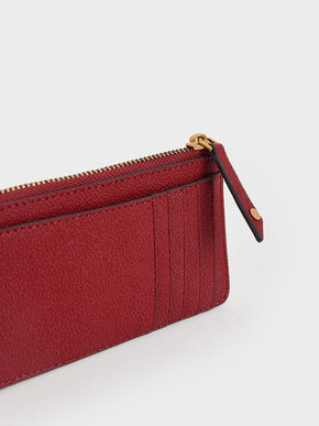 Zip Card Holder, Red, hi-res